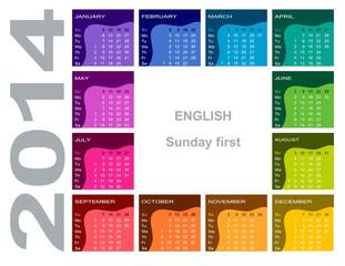 Coloful calendar 2014 (English, Sunday first)