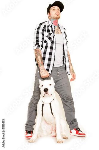 Poster Mann mit Hund