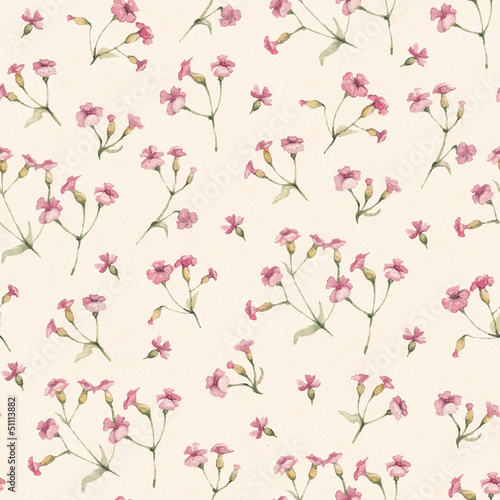 Vintage seamless pattern with watercolor flowers