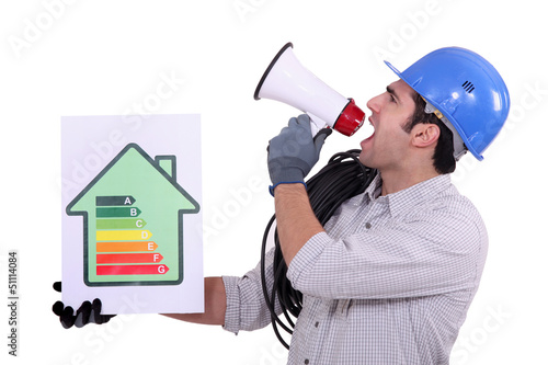 Construction worker promoting energy savings.
