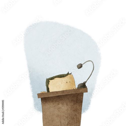 Leinwanddruck Bild shy man at the podium giving speech
