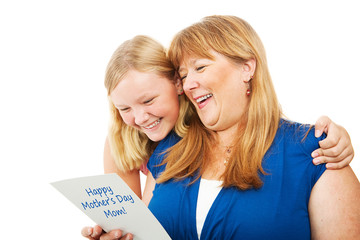 Teen Gives Mothers Day Card to Mom