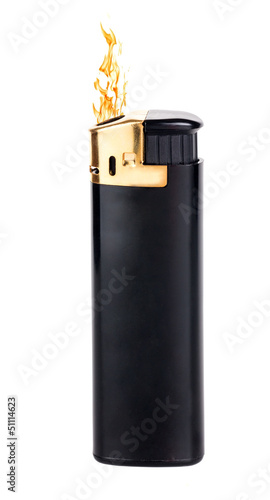 black lighter with flame