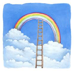 Watercolor illustration of rainbow