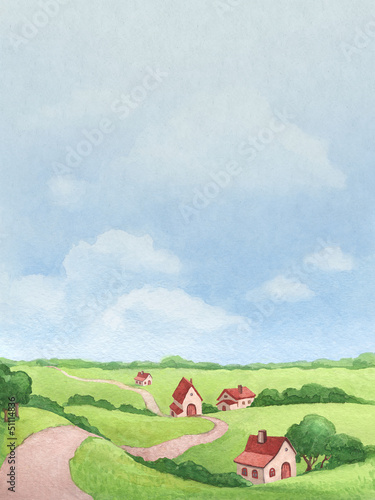Watercolor illustration of rural landscape