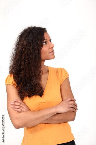 Black woman sulking.