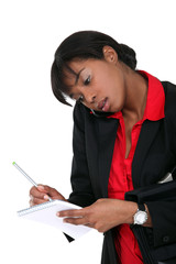 Afro-American secretary on the phone