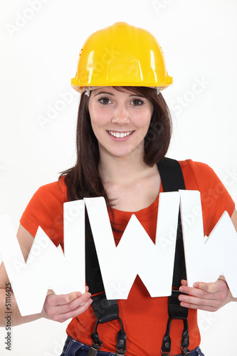 Tradeswoman embracing technology