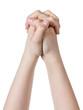 female teen hand praying