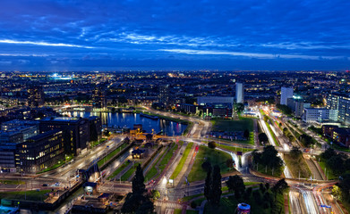 View of Rotterdam in the night from height