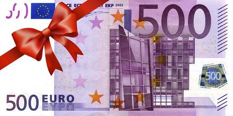 500 Euroschein mit rotem Band und Schleife