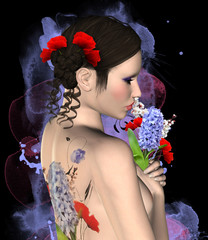 Beautiful woman with floral tattoo on her back