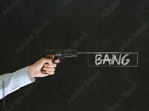Man pointing a gun with bang sign