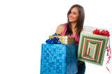 woman holding boxes with gifts
