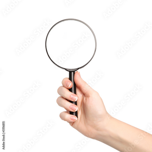 isolated woman hand holding a magnifying glass
