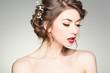 beautiful woman with perfect skin wearing natural make-up