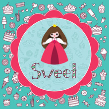 Симпатичные маленькая принцесса на фоне конфет