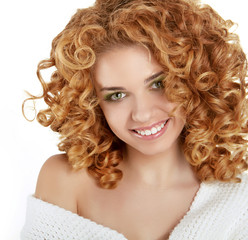 Red Wavy Hair.  Healthy Curly Hair. Beauty Girl smiling isolated