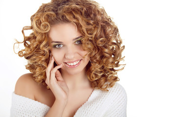 Hairstyle. Healthy Curly Hair. Beauty portrait of attractive you