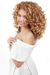 Hairstyle. Healthy Curly Hair. Beautiful young woman with long w