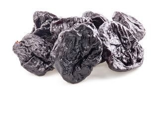 Prunes (dried plum fruits) isolated on white background