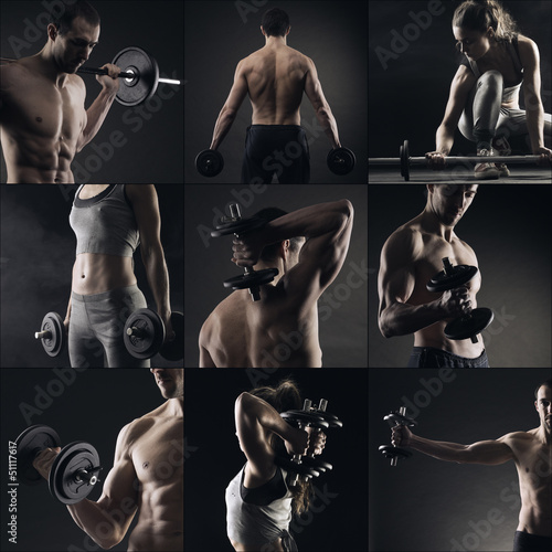 Bodybuilding image collage