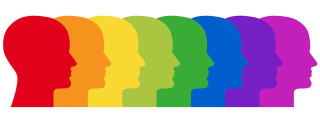Reihe aus 8 menschlichen Gesichtern in Regenbogenfarben