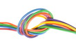 The electric colored wires with knot used in electrical and comp