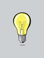 Light bulb on grey background vector illustration
