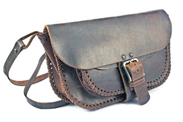 Old woman's leather bag
