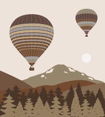 Hot air ballons over the mountains.