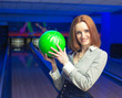 Beautiful woman in a bowling