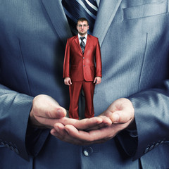 Holding small businessman