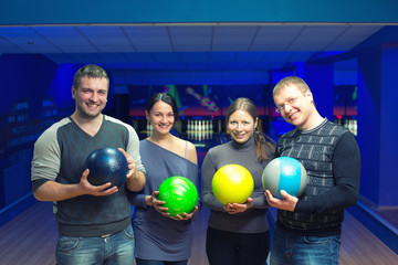 Friends in a bowling