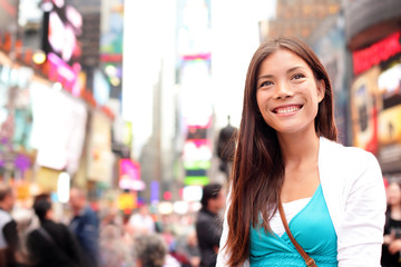 New York City woman as Times Square tourist