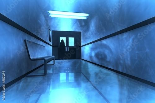 Scary Horror Hospital Corridor Yurei Japanese Ghost Poster