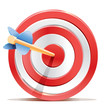Red darts target aim and arrow.