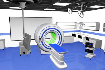 High Tech Operation Room Hospital Interior MRI CT machine