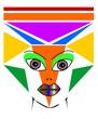 astratto con molti colori e viso di donna