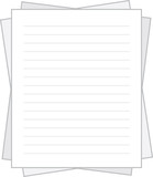 Isolated lined white paper stacked