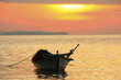 Silhouette of traditional fishing boat at sunrise, Koh Rong isla