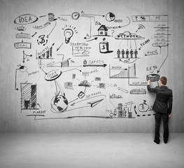 businessman drawing business concept on concrete wall