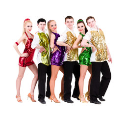 Disco dancer team. Isolated on white.
