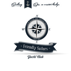 Comapass Vintage Retro Nautical Badge | Editable EPS 10 vector