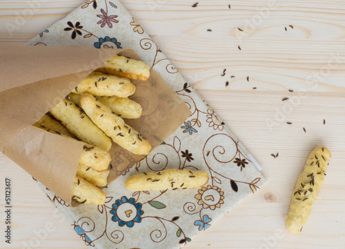 Salty bread sticks with caraway