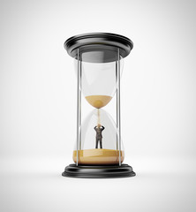 man inside hourglass