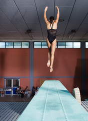 woman on trampoline