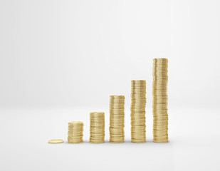 increasing columns of gold coins