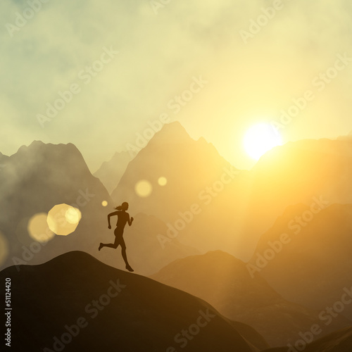 Woman fitness silhouette. Runner woman and sunrise.