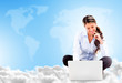 Business woman cloud computing